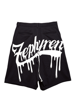BACK PRINT SAROUEL SHORTS BLACK / BEYOND