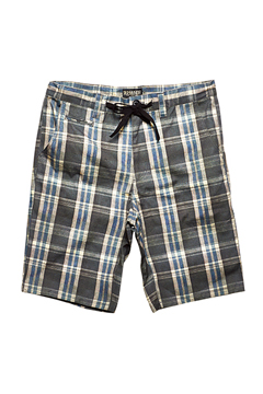 CHECK STRIPE SHORTS NAVY CHECK