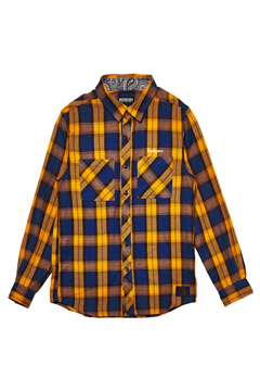 CHECK SHIRT L/S -Resolve- YELLOW / NAVY