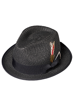 PANAMA HAT FEATHER BLACK