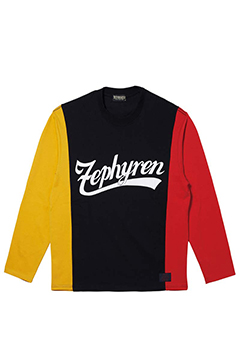 SWITCHING TEE L/S BLACK / MUSTARD / RED