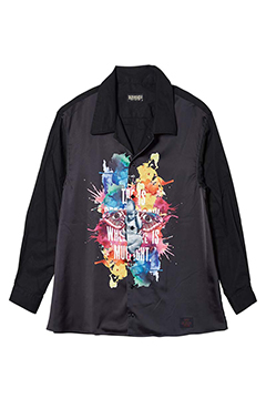PHOTO PRINT SHIRT L/S BLACK