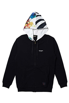 HOOD GRAPHIC PARKA BLACK