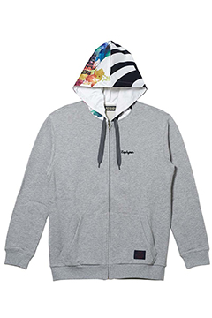 HOOD GRAPHIC PARKA GRAY