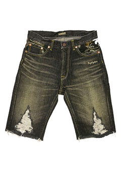 DENIM SHORTS -ALOHA- BLK