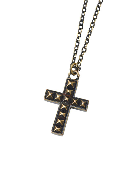 METAL NECKLACE -STUDS CROSS- ANTIQUE-GOLD