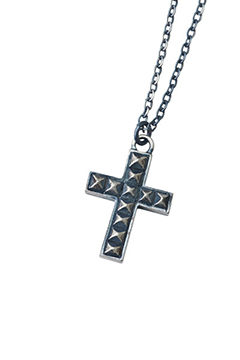 METAL NECKLACE - STUDS CROSS - ANTIQUE.SILVER