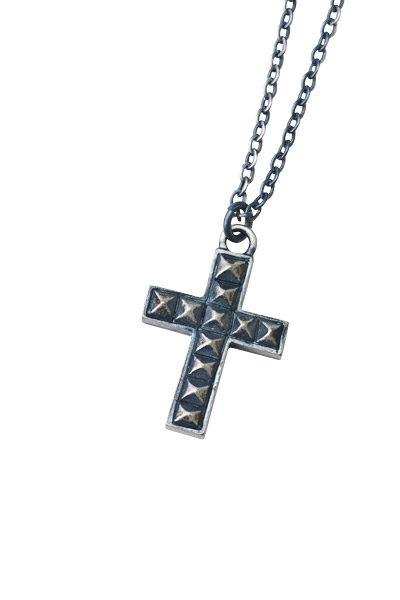 METAL NECKLACE -STUDS CROSS- ANTIQUE-SILVER