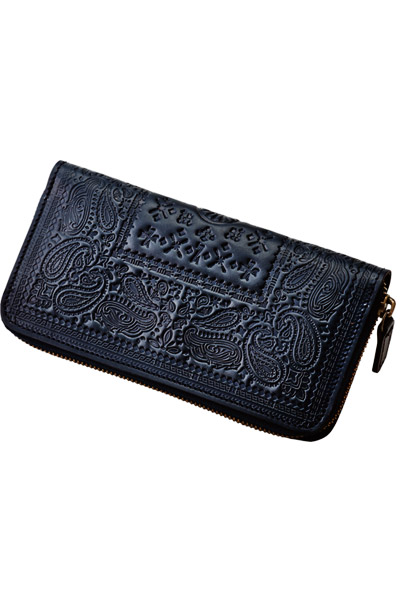 PAISLEY LEATHER ZIP WALLET BLACK