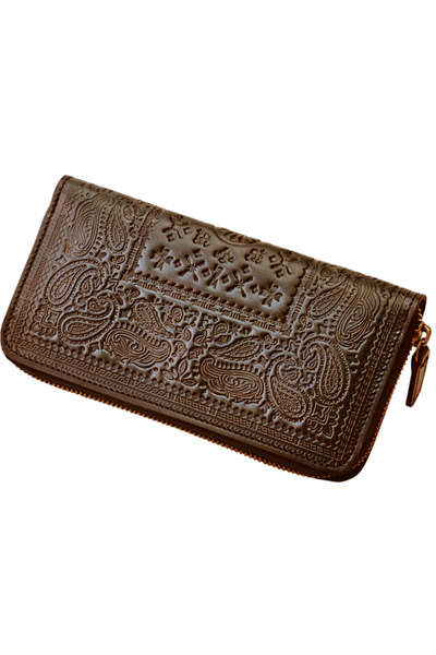 PAISLEY LEATHER ZIP WALLET BROWN