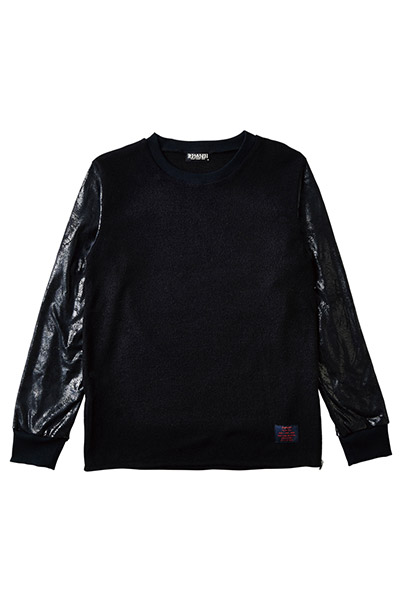 SWITCHING SLEEVE KNIT BLACK
