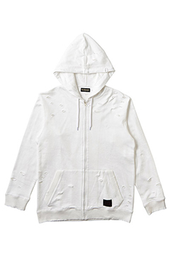 CLASHED ZIP PARKA WHITE