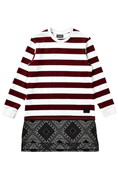 SWITCHING L/S TEE BURGUNDY-BORDER