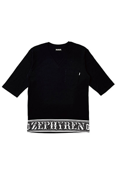 7/S TEE -Over the line- BLACK-VNECK
