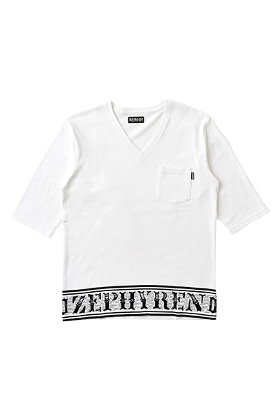 7/S TEE -Over the line- WHITE-VNECK