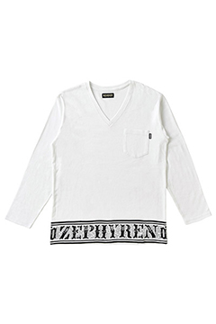 L/S TEE -Over the line- WHITE-VNECK