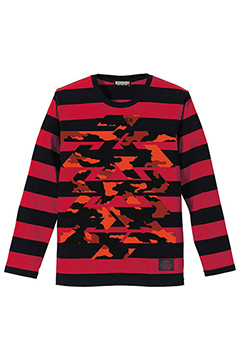 BORDER L/S TEE -Cut the world- BLACKxRED