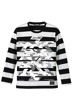 BORDER L/S TEE -Cut the world- BLACKxWHITE