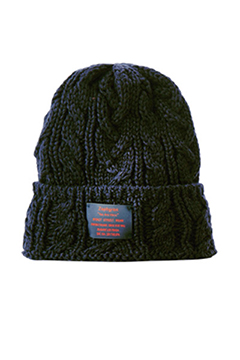 CABLE BEANIE -You are here- BLACK