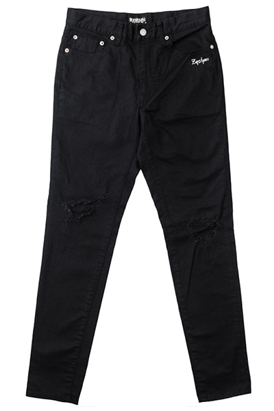 【予約商品】KNEE CLASHED SKINNY BLACK