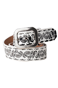 PAISLEY LETHER BELT WHITE