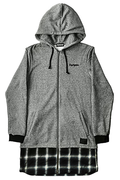SWITCHING LONG PARKA L/S GRY-CHK