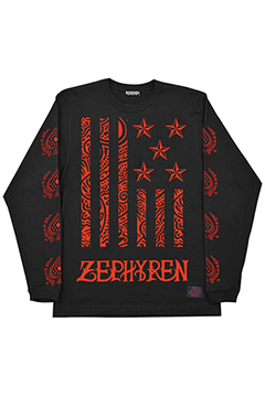 L/S TEE -REBEL FLAG- BLK-RED