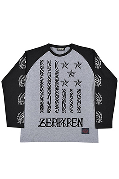 R-L/S TEE -REBEL FLAG- GRY-BLK