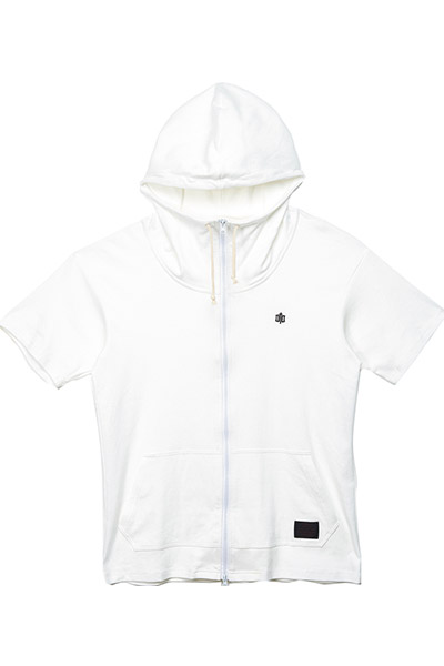 BIG ZIP HOODY S/S-ENGRAVE- WHITE