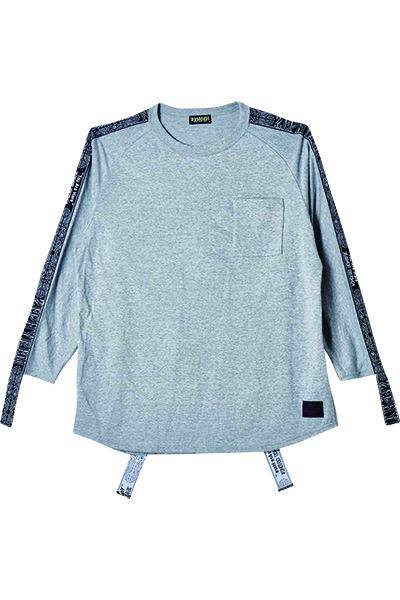 Zephyren (ゼファレン) LONG TAPE BIG TEE L/S GRAY
