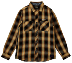 CHECK SHIRT L/S - Resolve -  BLACK / YELLOW